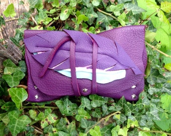Dark Purple Leather Feather Stash Pouch~ Crystal~ Gemstone~ Spirit Bag