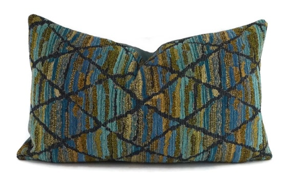 Navy And Teal Throw Pillows: Blue Teal Turquoise Gold & Navy Chenille Lumbar By