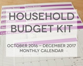 Household Budget Kit {INSTANT DOWNLOAD} 2017 Calendar with Oct to Dec 2016 // letter size // pink bold