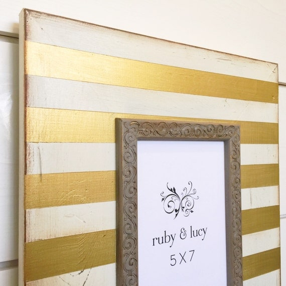 Modern distressed 5x7 wood picture frame metallic gold for 5x7 room design