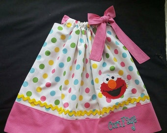 Girls Elmo Pillow Case Dress - Pink Trim
