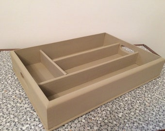 Hand painted vintage wooden cutlery tray