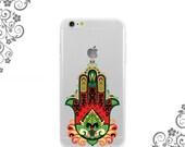 iPhone and Galaxy Soft TPU Phone Case Back Cover Colorful Hamsa Fatimah Hand of God - UV0319