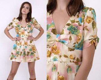 70's Cute Floral Print Pale Yellow Empire Waist PUFF Sleeves BabyDoll Boho Hippie Vintage Mini Dress XS/S