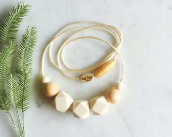 Minimalist Nursing Necklace, Modern Chewable Necklace, Natural Maple Wood and Silicone Bead Necklace, Baby – Cream – Myra