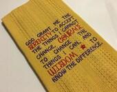 Embroidered Kitchen Towel..Serenity Prayer..Dish Towel..Tea Towel..Inspirational Gift