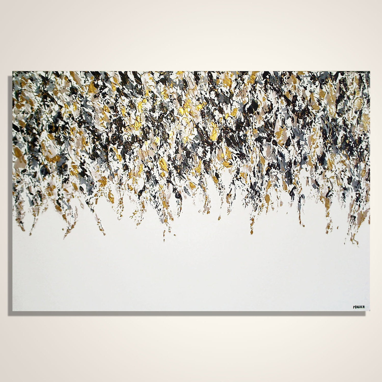Abstract painting gold black and white abstract art for Modern black and white wall art