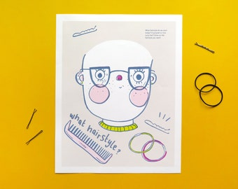 Draw Your Own Hairstyle Print