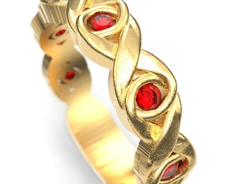 Celtic Ruby Wedding Ring With Infinity Knot Design in 10K 14K 18K Gold, Palladium or Platinum, Ruby Celtic Knot Ring, Made in Your Size 1107