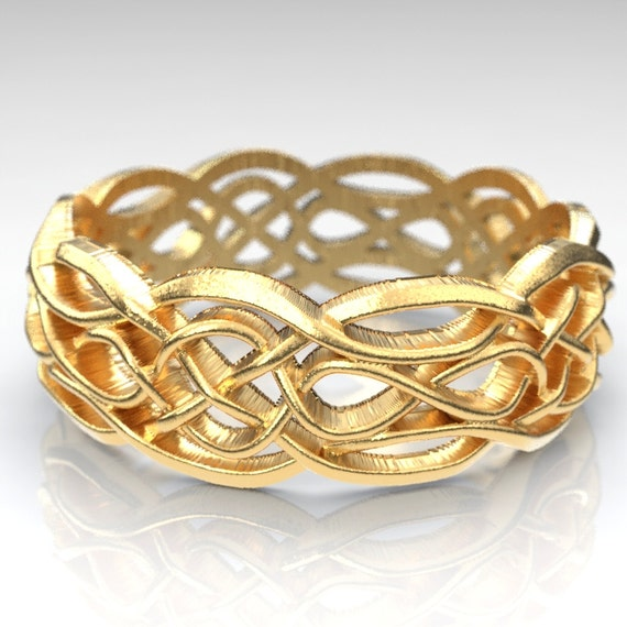 Gold Celtic Wedding Ring With Cut-Through Infinity Symbol Pattern & Quaternary Knots 10K 14K 18K or Palladium, Made in Your Size Cr-1055