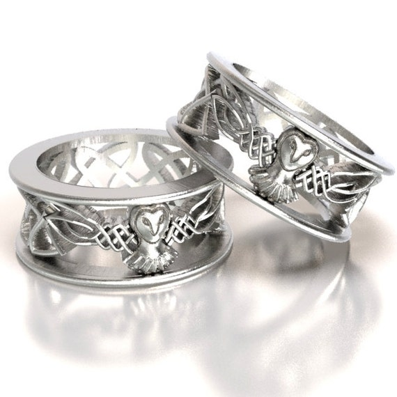 Sterling Silver Owl Wedding Ring Set His And Hers Wedding