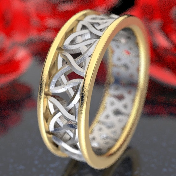 2-Tone Gold Wedding Ring With Cut-Through Celtic Woven Knotwork Design in 10K 14K 18K Gold Palladium or Platinum, Made in Your Size CR-37