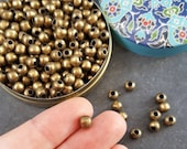 6mm Plain Round Ball Bead Spacers Antique Bronze Plated Turkish Jewelry Making Supplies Findings Component - 25pcs