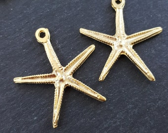 Starfish Necklace Pendant Golden Star Fish Sea Star Creature 22k Matte Gold Plated Turkish Jewelry Making Supplies Findings Components - 2PC