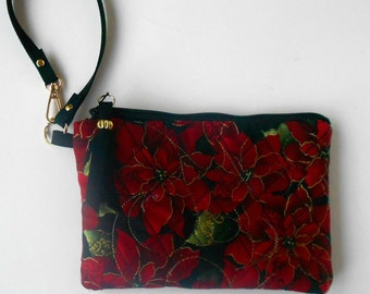 Quilted wristlet for the holidays.  Christmas wristlet.  Kindle or e-reader sleeve.