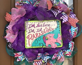 Summertime Lost in Paradise deco mesh wreath