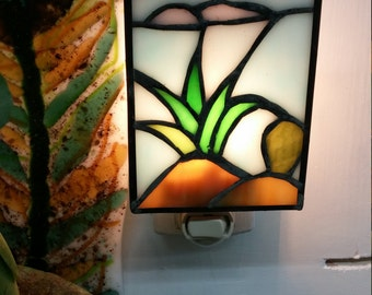 Night light, stained glass night light, pineapple night light, home decor, kithen decor,lighting