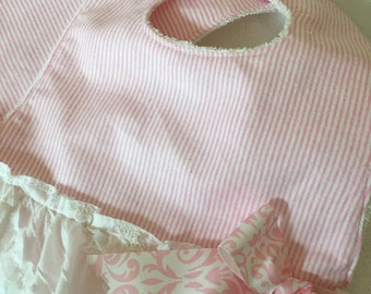 Baby Girl Bib and Burp cloth