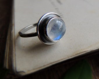 Moonstone silver ring, summer jewelry, Rings, stacking ring, gemstone ring, Sterling silver, Stackable ring by MARIAELA