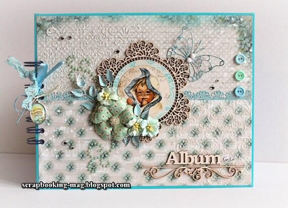 Scrapbook Album,100% Handmade Newborn Photo Album Baby Journal, Baby Boy Book, Keepsake Album, Baptism, First Birthday, Photo Memory Book