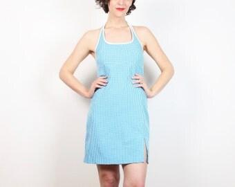 Vintage 1990s Dress Hot Teal Blue White Gingham Print Halter Dress 90s Dress Backless Dress Mini Dress Sporty Girl Sundress S Small M Medium
