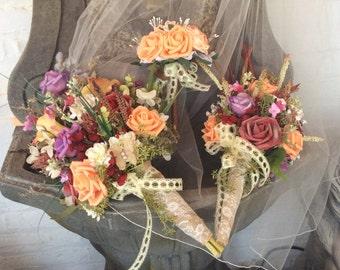 Custom-RESERVED-BILLIE JO-Wildflower Wedding Bouquet-Bridal Bouquet-Bride's Wedding Flowers-Colorful Fall Wedding Flower Bouquet-Balance