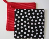 Potholders , Set of 2 , Hot Pad , Mug Rug , Quilted , Black and White Polka Dot , Red and White Polka Dot , Bridal Gift , Mothers Day