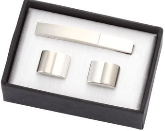 2 Tone Silver Metal Cufflinks with Matching Tie Clip