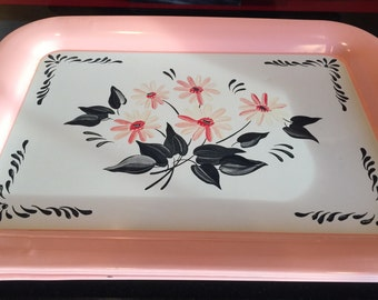 Kitchen Trays, Metal, Pink, Black and Grey, Daisies