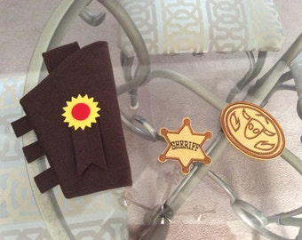 Toy Story Inspired Felt Woody Dress Up Pretend Costume Toy Gun Holster Badge and Buckle Set  (3 pieces).