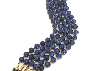 Five Strand Beaded Bracelet, Lapis Blue Glass Beads, Iridescent Bugle Beads, Fancy Clasp of Gold Tone Metal Bugle Beads