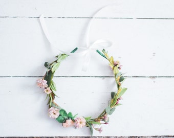 Blooming Peach Flower+Cherry Blossoms and Greenery Crown With Ribbon Tie