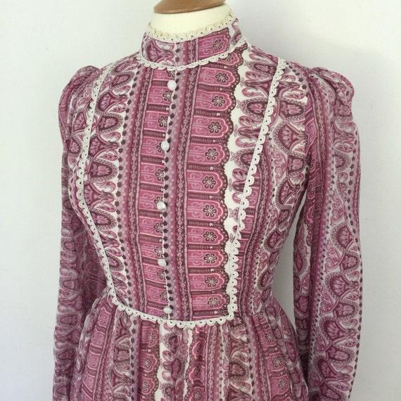 Folk dress 1970s prairie style pink striped historical re enactor UK 12 maxi dress festival style victoriana 70s