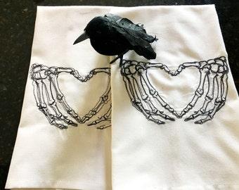 Skeleton Heart Tea Towel - Halloween Kitchen Towel