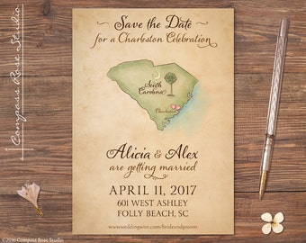 Vintage Charleston Wedding Map Save The Date, Custom Wedding Map, South Carolina Watercolor Map, Elopement Announcement, Any Location