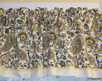 Chauncey Cliffside Mill Creek Gold Paisley Toile Valance 17 X 55 Drapery Weight Curtain Window Treatment