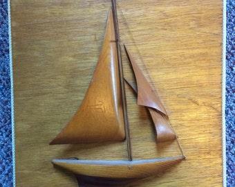 "Vintage Mid Century Nautical Wooden Sailboat Art, 11.5"""