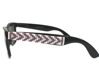 Polarized Purple Chevron Sunglasses, Beaded Sunglasses, Hand Beaded, Seed Beads, Polarized Sunglasses, Wayfarer Sunglass, Ray Ban Style