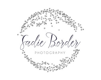 Silver Glitter Circle Logo - Premade Photography Logo and Watermark Design - Photography or Boutique Logo  - Business Branding