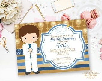 PRINTABLE-Boy First Holy Communion Invitation- YOU PRINT