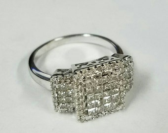 14kt white gold princess cut diamonds  engagement ring