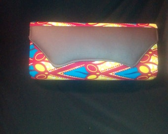 Brown and Yellow African print clutch-P4