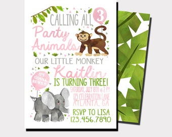 Safari Birthday Invitation | Zoo Birthday | Jungle Birthday Invitation | Animal Invitation | Wild Animals | Party Animals | Girls Birthday