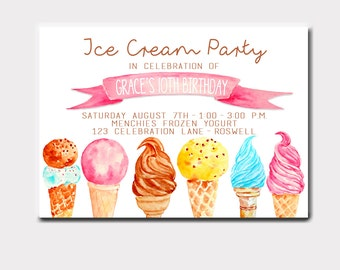 Ice Cream Party Watercolor Birthday Invitation