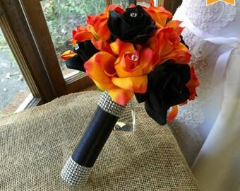Sale - Halloween Bouquet, Orange Black Bouquet, Orange Black Wedding, Halloween wedding, Halloween Decor, Halloween, Orange Bouquet, Fall B