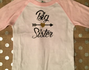 Personalized 3/4 sleeve baseball tee, big sister shirt, custom shirt, toddler clothes, boys and girls clothes, big sister gift
