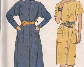 Butterick 6744 Vintage Pattern Womens  Button Down Shirt Dress in 2 Variations Size 12,14,16 UNCUT