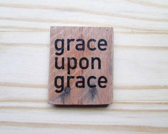 Grace Magnet - Wood Rustic Magnet - Kitchen Decor Grace Upon Grace