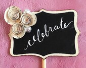 CREAM Wedding Decor, Wedding Paper Flowers, Table Numbers Wood, Small Chalkboard Signs, Custom Chalkboard Sign, Nuetral Baby Shower Decor