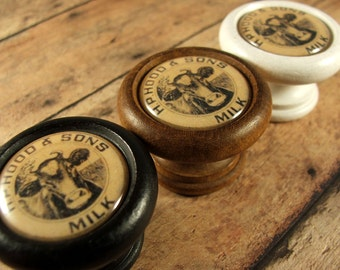 """Old Fashioned """"Hood & Sons"""" Milk Bottle Cap Knobs...Price is for 1 Knob (Quantity Discounts Available!)"""